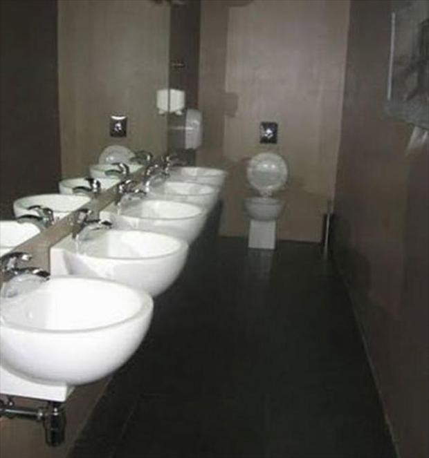 one toiler loads of sinks